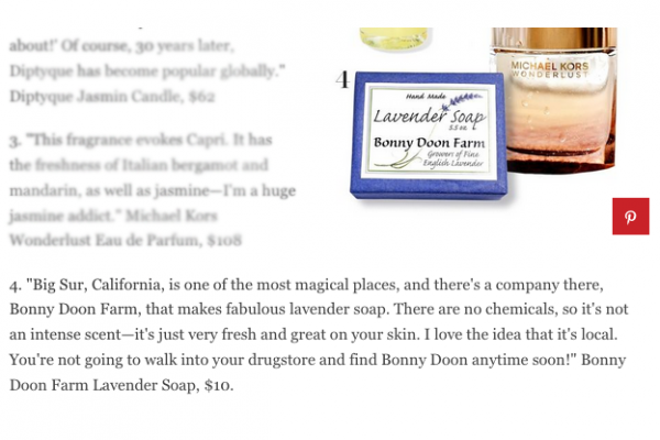 Michael Kors Loves Bonny Doon Farm Lavender Soap !